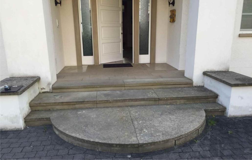 reinigung einer sandsteintreppe natursteine mulbach bitburg. Black Bedroom Furniture Sets. Home Design Ideas